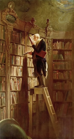 Elderly bookworm on a library ladder.